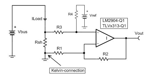[TI 코리아] 그림 2_차동 증폭기를 사용한 로우사이드 전류 감지.png