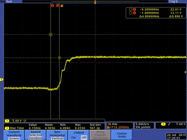 [TI 코리아] 그림 3_스위치 노드 LMS3655-Q1, 링잉이 발생하지 않은 것을 볼 수 있음.png