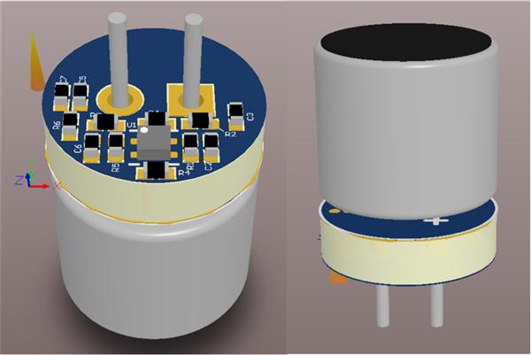 [TI 코리아] 그림 4_마이크로폰과 PCB의 몇 가지 다른 각도를 보여주는 PCB 설계의 3D 뷰.png