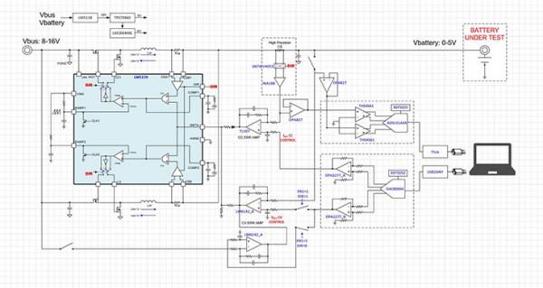 [TI 코리아] 그림 1_배터리 테스터 레퍼런스 디자인의 블록 다이어그램.jpg